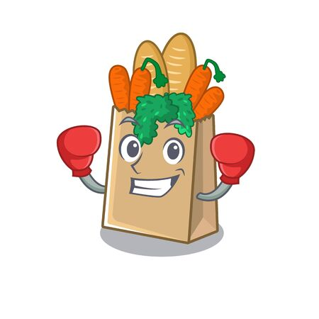 Boxing grocery bag with the mascot shape vector illustration