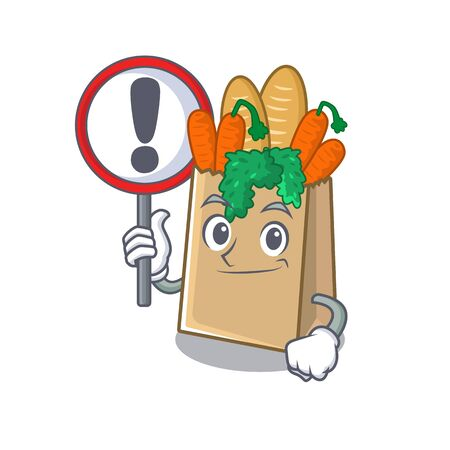 With sign grocery bag with the mascot shape vector illustration