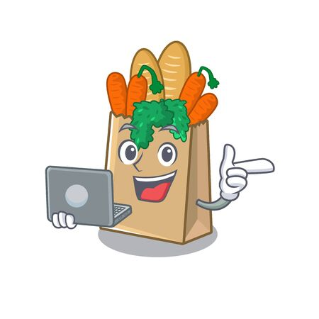 With laptop grocery bag with the mascot shape vector illustration