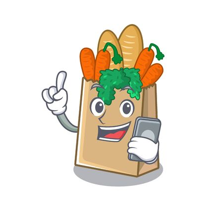 With phone grocery bag with the mascot shape vector illustration