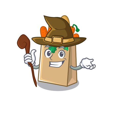 Witch grocery bag isolated with the character vector illustration Ilustracja