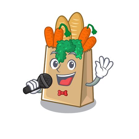 Singing grocery bag isolated with the character vector illustration Ilustracja