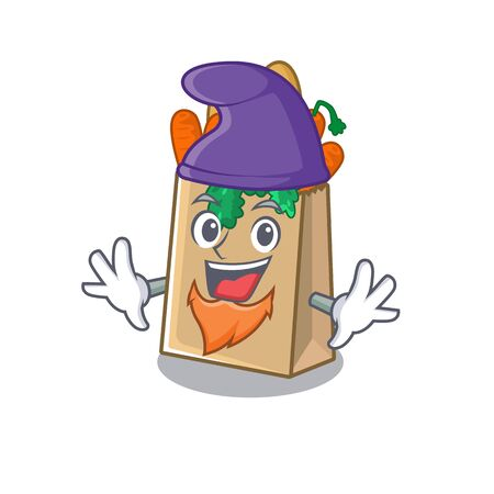 Elf grocery bag with the mascot shape vector illustration Stock Illustratie