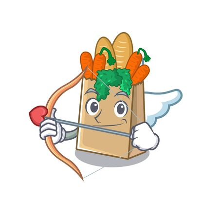 Cupid grocery bag with the mascot shape vector illustration