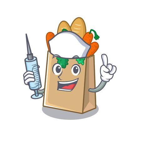 Nurse grocery bag in above cartoon table vector illustration Ilustração
