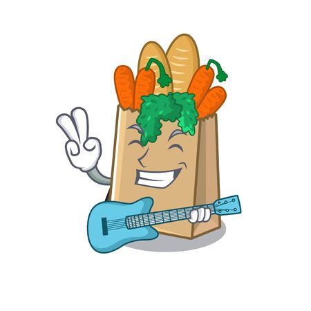 With guitar grocery bag isolated with the character vector illustration