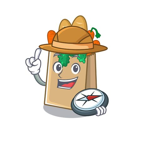 Explorer grocery bag isolated with the character vector illustration Ilustracja