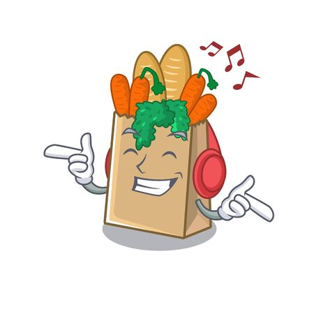 Listening music grocery bag isolated with the character vector illustration