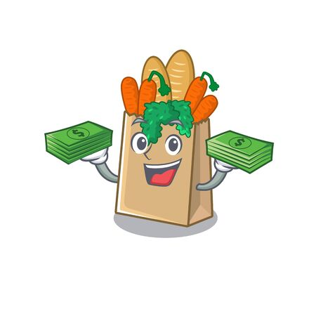 With money bag grocery bag isolated with the character vector illustration
