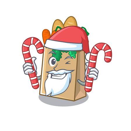 Santa with candy grocery bag stored in cartoon drawer vector illustration Ilustração