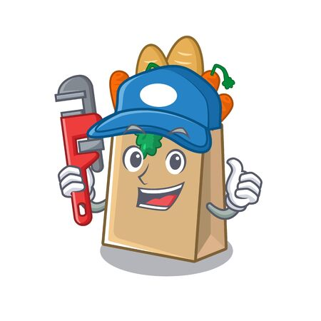 Plumber grocery bag stored in cartoon drawer vector illustration Ilustração