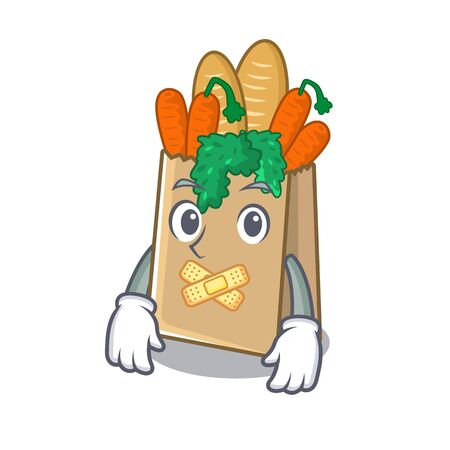 Silent grocery bag stored in cartoon drawer vector illustration