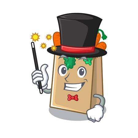 Magician grocery bag stored in cartoon drawer vector illustration