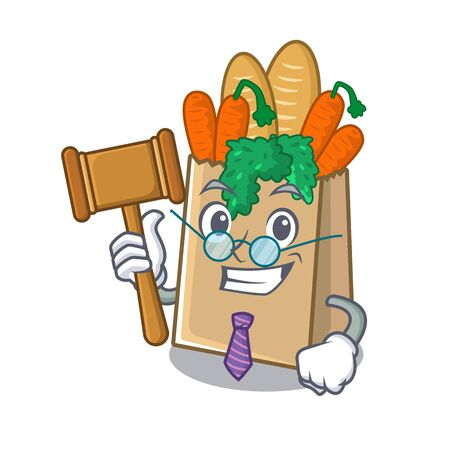 Judge grocery bag stored in cartoon drawer vector illustration