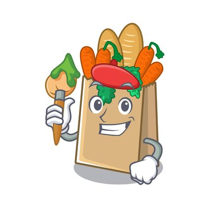 Artist grocery bag with the mascot shape vector illustration