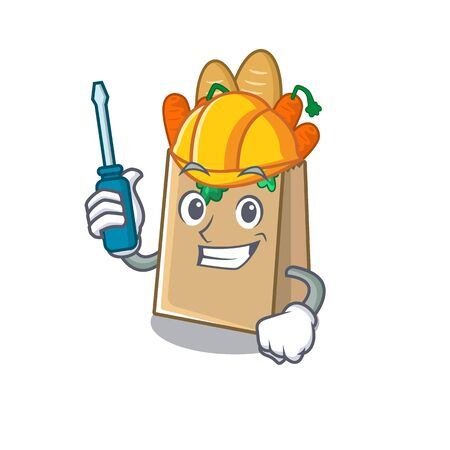 Automotive grocery bag stored in cartoon drawer vector illustration