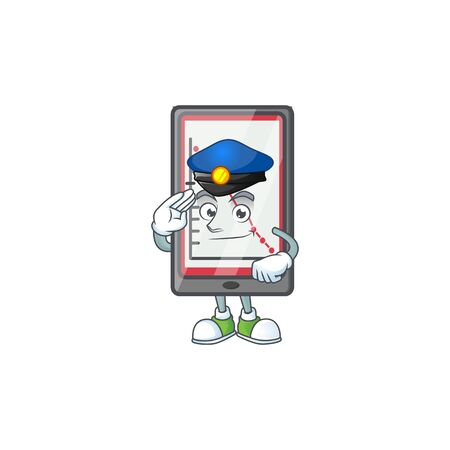 Police down chart vertical tablet character style. vector illustration