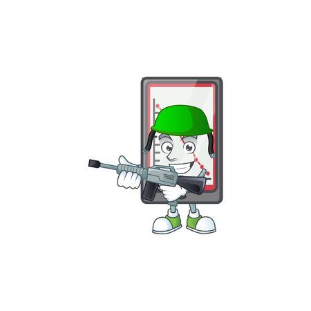 Army down chart vertical tablet character style. vector illustration 일러스트