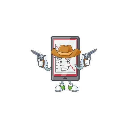 Cowboy down chart vertical tablet character style. vector illustration Çizim
