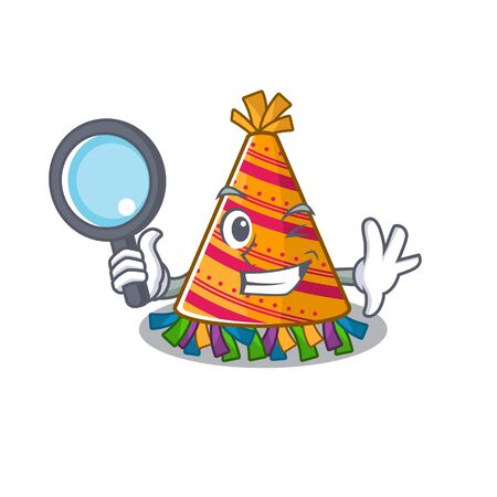 Detective party hat with in the cartoon vector illustration  イラスト・ベクター素材