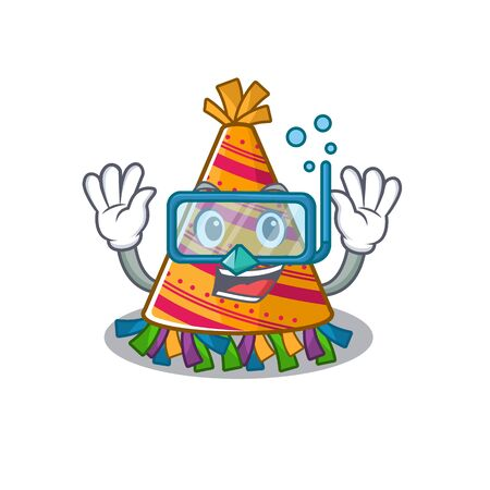 Diving party hat with in the cartoon vector illustration