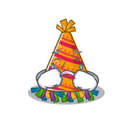Crying party hat cartoon with character shape vector illustration
