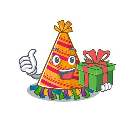 With gift party hat cartoon with character shape vector illustration Reklamní fotografie - 131804410
