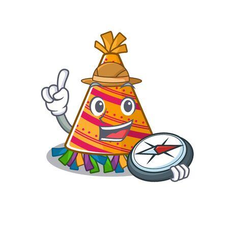 Explorer party hat cartoon with character shape vector illustration Ilustração