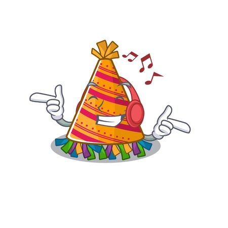 Listening music party hat cartoon with character shape vector illustration