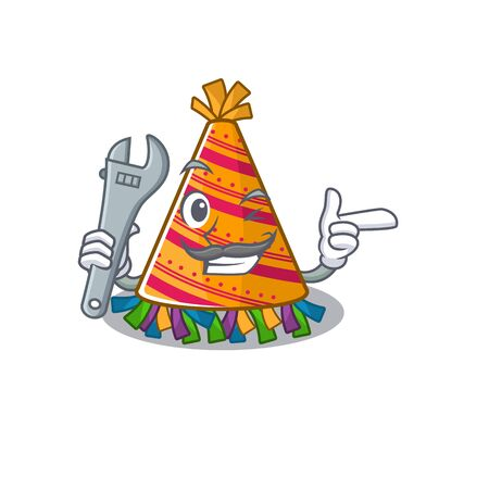 Mechanic party hat in a above mascot