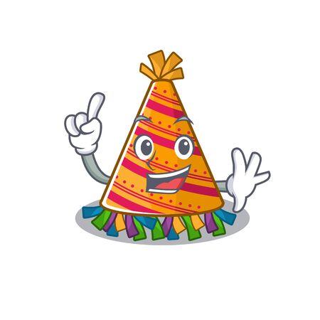 Finger party hat in a above mascot vector illustration Ilustración de vector