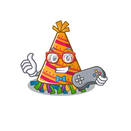 Gamer party hat cartoon with character shape vector illustration Stock Illustratie