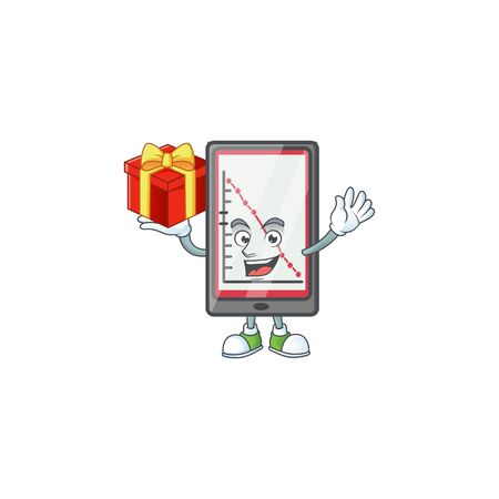 Bring gift down chart vertical tablet with mascot vector illustration