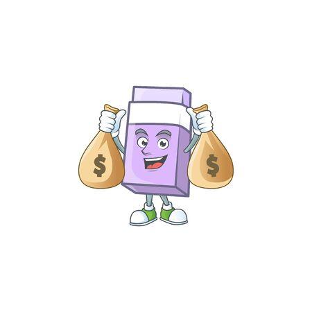 With money bag purple eraser for the school equipment. vector illustration Ilustração Vetorial
