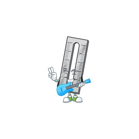 With guitar icon ruler cartoon character with mascot vector illustration 일러스트