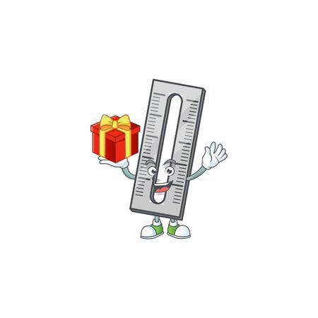 Bring gift icon ruler isolated on white background. vector illustration Ilustrace