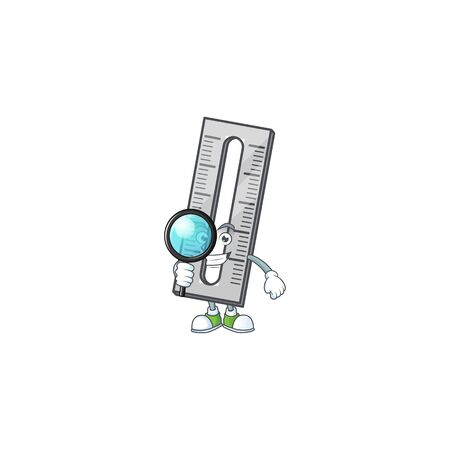 Detective gray ruler in the cartoon character vector illustration