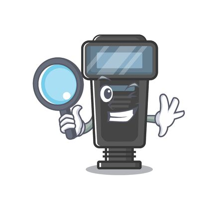 Detective camera flash isolated with the mascot
