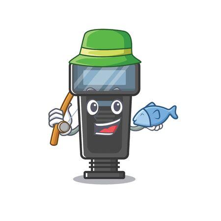 Fishing camera flash in a cartoon bag Illusztráció