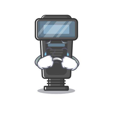 Crying camera flash in a cartoon bag vector illustration