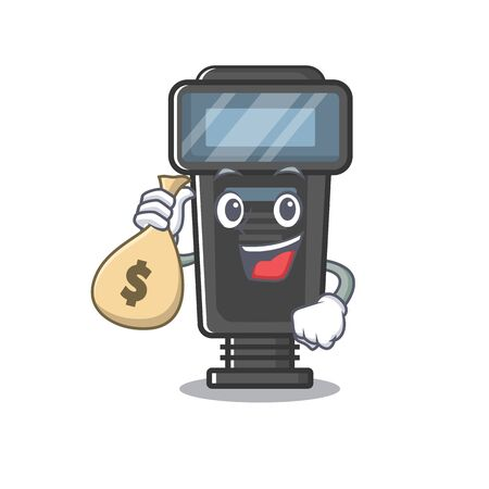 With money bag camera flash in the cartoon shape vector illustration