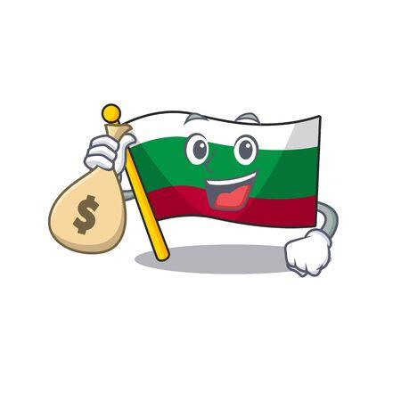 With money bag flag bulgarian hoisted on cartoon pole vector illustration