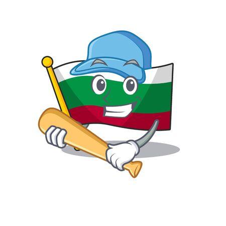 Playing baseball flag bulgarian hoisted on cartoon pole