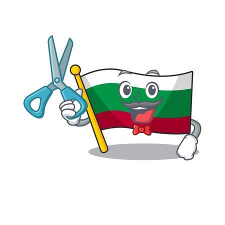 Barber flag bulgarian hoisted on cartoon pole