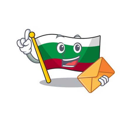 With envelope flag bulgarian isolated in the character vector illustration