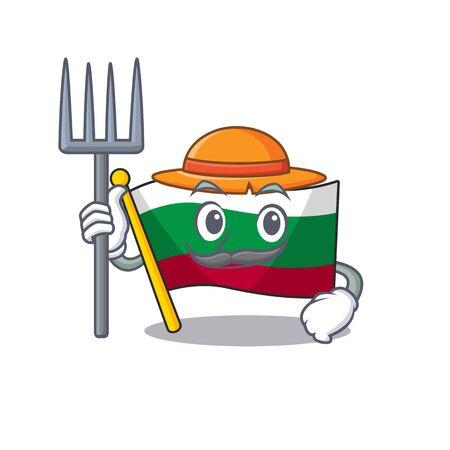 Farmer flag bulgarian hoisted on cartoon pole