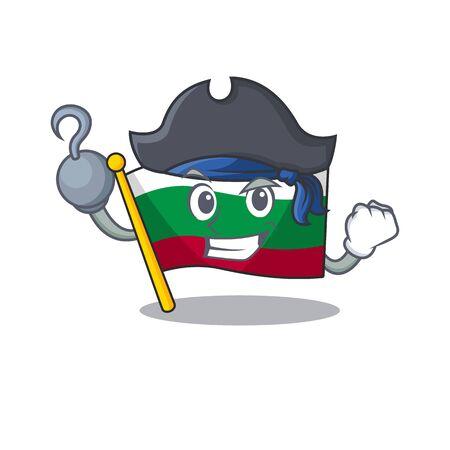 Pirate flag bulgarian hoisted on cartoon pole