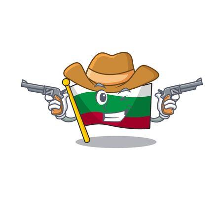 Cowboy flag bulgarian hoisted on cartoon pole vector illustration Иллюстрация