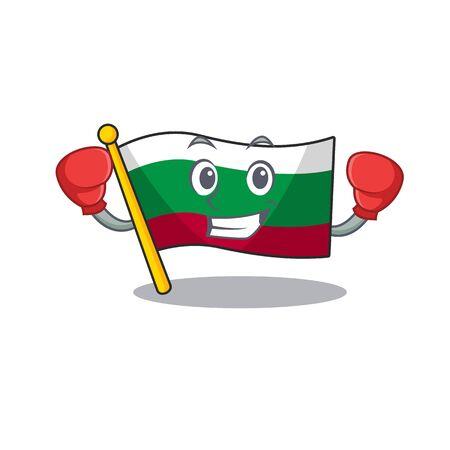 Boxing flag bulgarian hoisted on cartoon pole