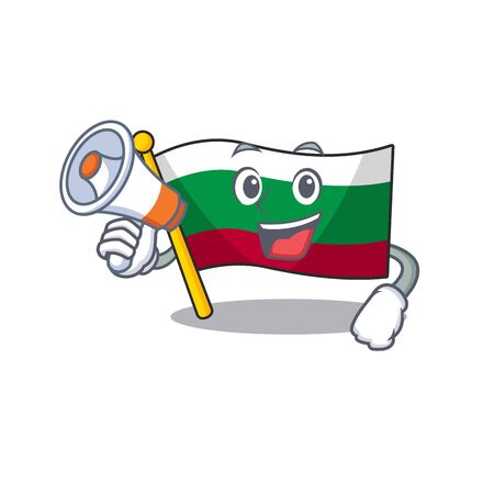 With megaphone flag bulgarian hoisted on cartoon pole vector illustration Imagens - 131912684